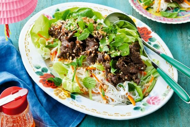 Lemongrass beef salad. The fresh flavours of Vietnam are showcased in this vibrant lemongrass beef salad.