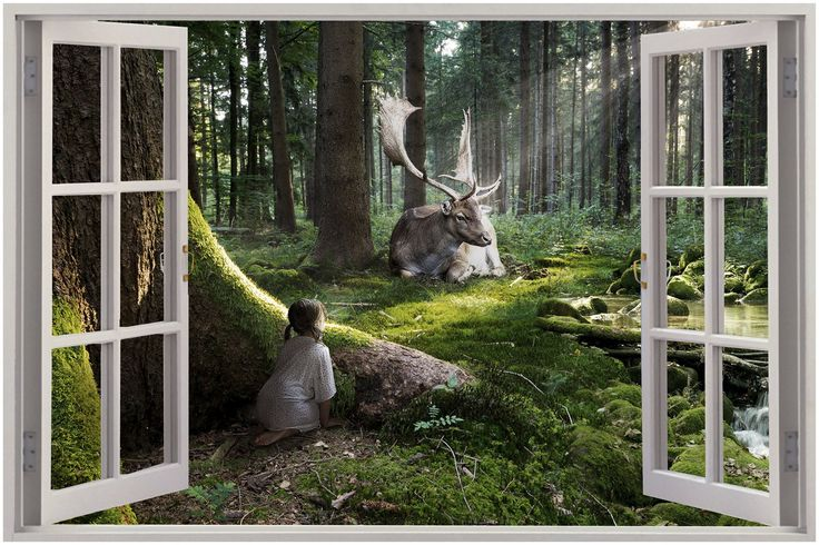 Details about 3d window view enchanted forest wall sticker for Enchanted forest wall mural