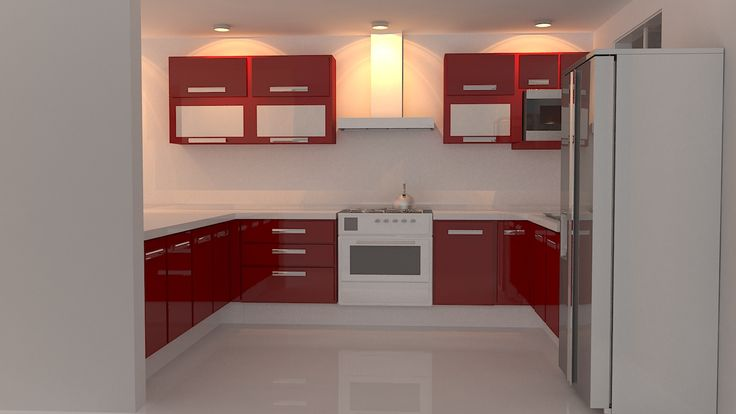 Cocina integral color rojo decoraci n pinterest for Cocinas integrales en escuadra
