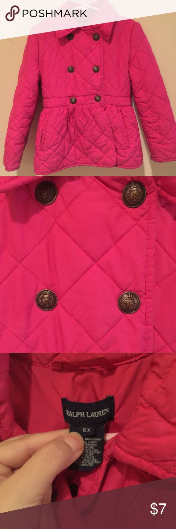 Size 6 , 6x girls jacket/coat Pink Ralph Lauren jacket/coat super cute and comfy my daughter loves wearing it plz check the last 2 pics it does have 2 flaws price reflects it . Isn't noticeable first picture you can't really tell Ralph Lauren Jackets & Coats Puffers