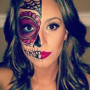 Sugar skull makeup for halloween costume by patty