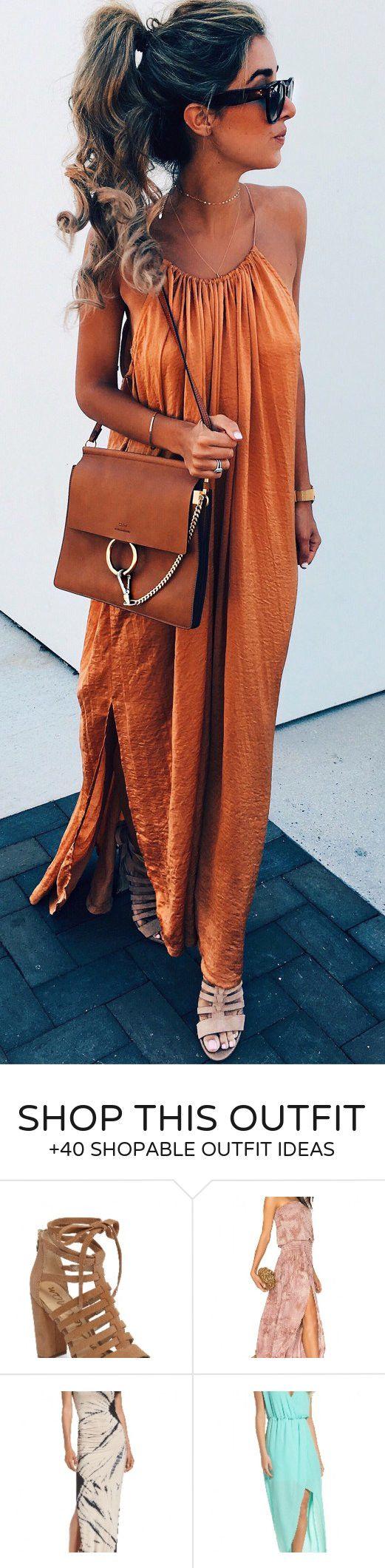 #summer #outfits Orange Maxi Dress + Brown Leather Shoulder Bag ❤️
