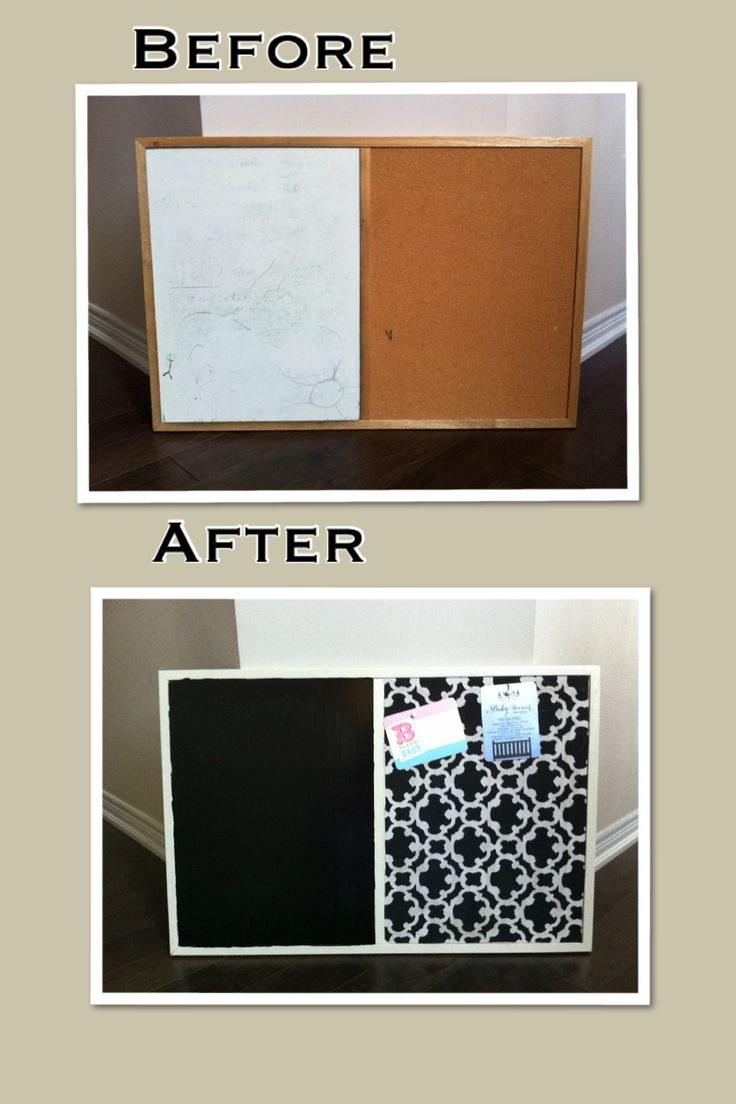 A bit of chalkboard paint, fabric and Mod Podge brought new life to this  old. Paint FabricCork BoardsChalkboard ...