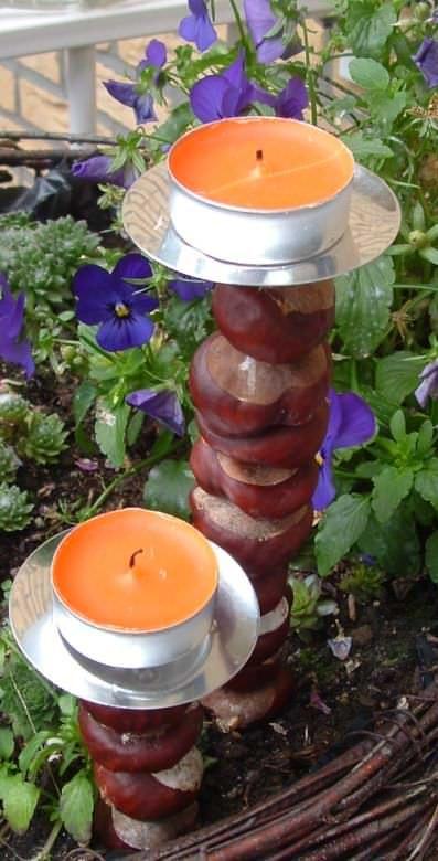 Herbstdeko-Kerzenständer aus Kastanien