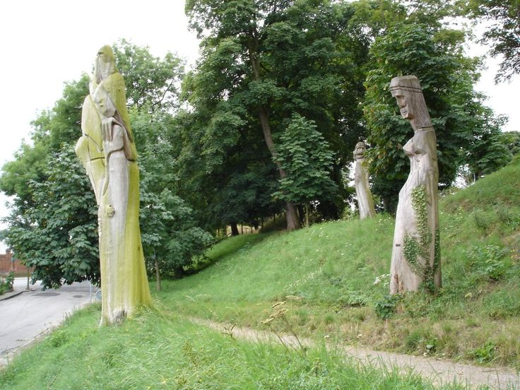 Old Norse gods carved into the trees Fredericia, Denmark