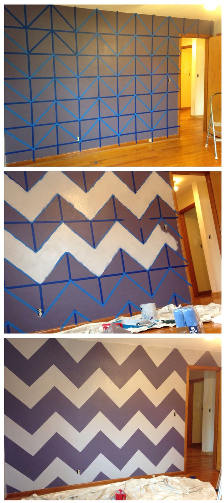 How to chevron a wall: 1.Tape a grid on the wall 2. Follow the pattern and in each square tape it off to create 2 triangles  3. Remove the grid tape in every other chevron line 4. Paint within the tape to create the chevron pattern 5. Remove tape  Annnnnd FINISHED :D
