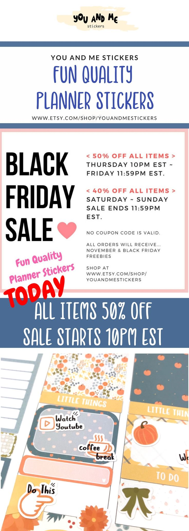 Black Friday Sale ALERT!  All Planner Stickers are 50% off at You and me Stickers! You can also get Full Weekly Kits for Erin Condren Life Planner with 50% Off! No Coupon code is needed. Check out our Fun, Quality Planner Stickers! Please visit at www.etsy.com/shop/youandmestickers             #plannerstickers #plannercommunity #plannergirl #planneraddict #Planners #erincondren #happyplanner #bulletjournal #weeklykit #weeklystickers #fallstickers #novemberstickers