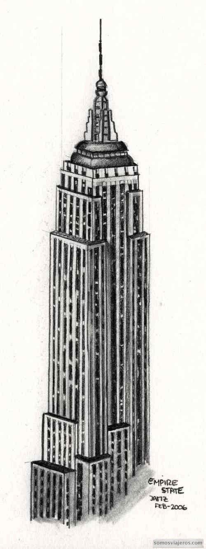 Dibujo empire state building Nueva York