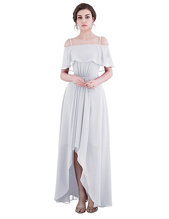 Dresstell お呼ばれ 結婚式ドレス ブライズメイドドレス 紐付き ハイ・ロー フリル袖 シンプルシフォン 花嫁ワンピース 二次会ドレス ビスチェタイプ 発表会ドレス シャンペン 9号