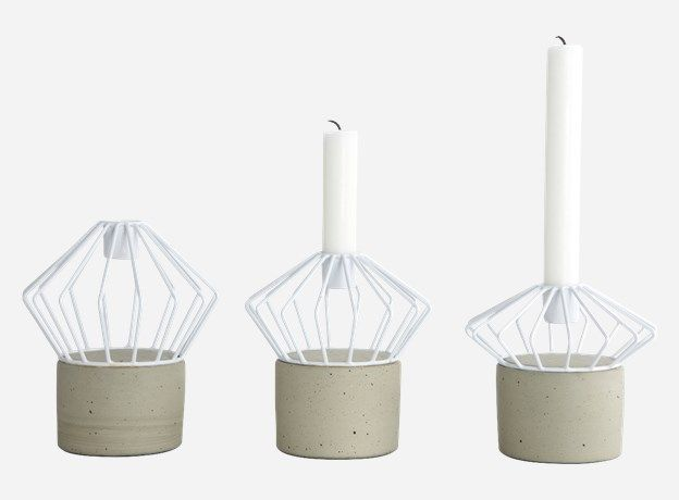 Sd0850 - Candle stick, Wire, white, set of 3 shapes/sizes, dia.: 13 cm, h.: 11/13/15 cm