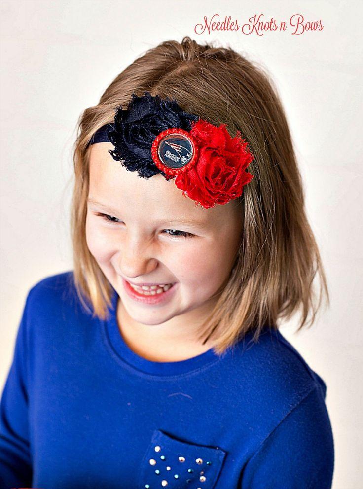 New England Patriots Headband, Patriots Shabby Chic Baseball Headband, Girls Hair Accessories