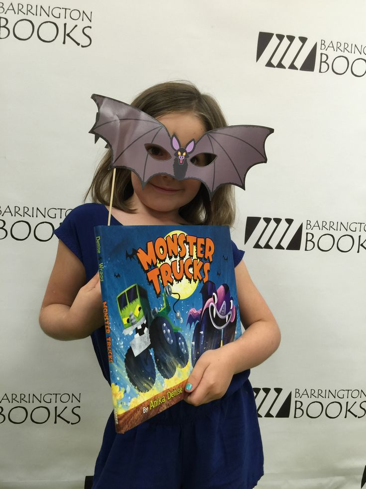 At the Monster Trucks book launch party on 7/16/16, reader Lucia (age 6) strikes a batty pose!