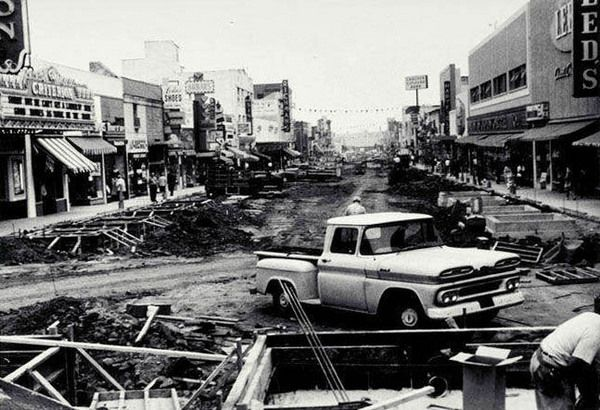 Santa Monica's Third Street pedestrian mall under construction in 1965. Courtesy of the Santa Monica Public Library Image Archives.