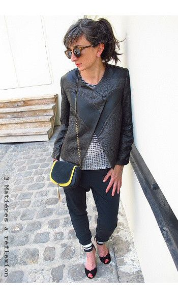 Eple & Melk veste cuir noir/toile shiny #eple&melk #veste #jacket #leather #cuir #vesteencuir #matieresareflexion #custommade #pyrus #top #noir #black #rock #emmago #escarpins #pumps #pantalon #jogging #imprimé #spitfire #lunettesdesoleil