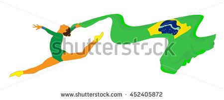 Young gymnast woman in green sportswear dress with Brazilian flag, doing art gymnastics element split leap in the air. Isolated on white background. Abstract digital Illustration. Hand Drawn. - stock photo