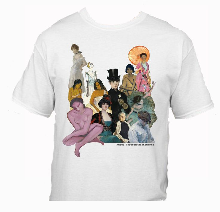 Diseño de Mari Paz Agundez inspirado en las obras de Ramón Casas,  Franz Marc, Gauguin, Manet, Toulosse Lautrec y Degas #CamisetasThyssen