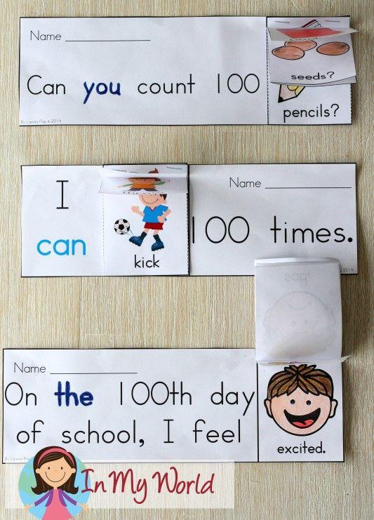 100th Day of School Sight Words Flip Books.