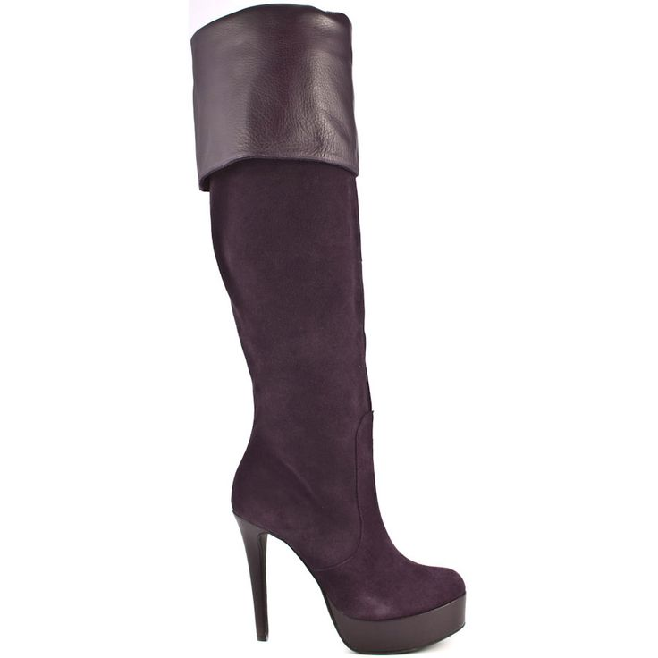 Dramatic fashion looks are in and this BCBGeneration style is perfection. Asha brings you an eggplant suede upper with a smooth leather cuff detail. This knee boot is complete with a rounded toe, 4 1/2 inch stiletto heel and 1 inch platform.