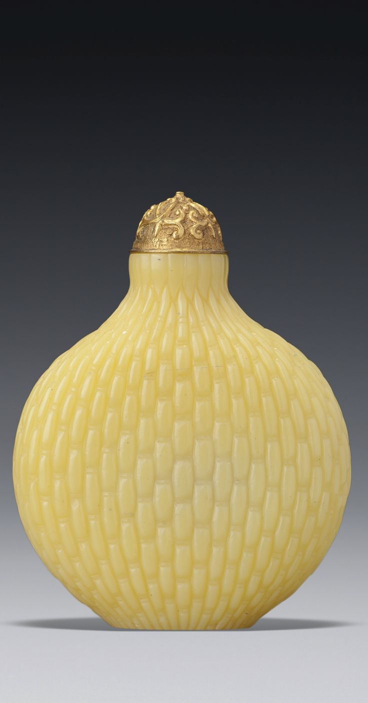 """A Yellow Glass """"Basket-Weave"""" Snuff Bottles, Qing Dynasty, 18th/19th century   sotheby's"""