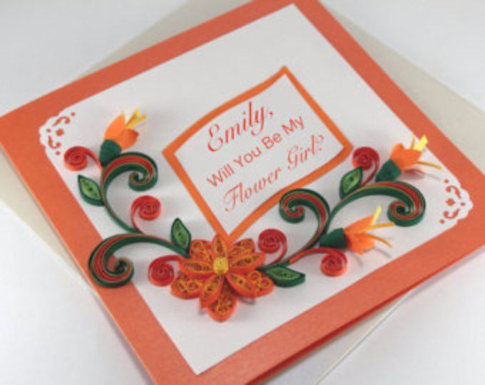 Flower Girl Card - Will You Be My Flower Girl - Personalised - Quilling Birthday Card - Personalized Birthday Card