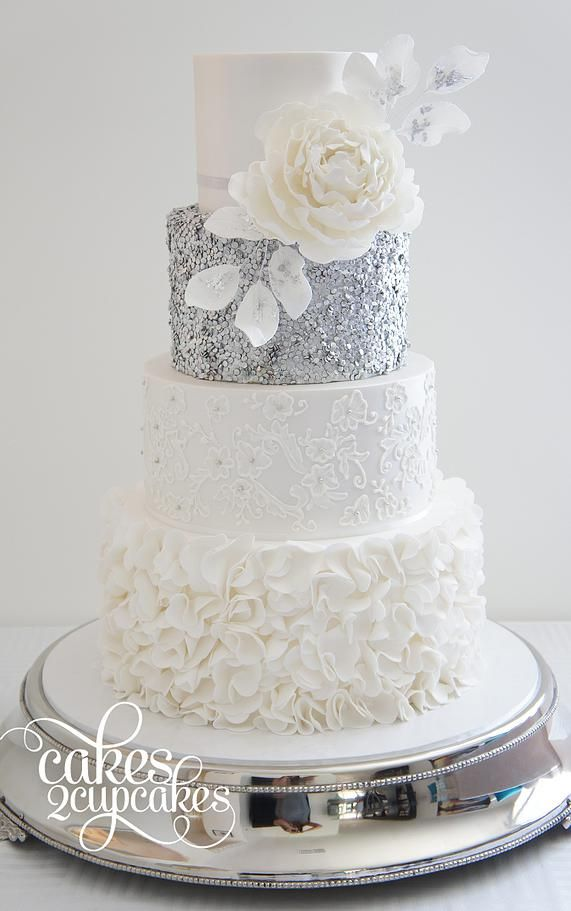 we ❤ this!  moncheribridals.com  #weddingcakes #whiteandsilverweddingcake