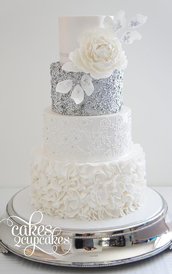 we ❤ this!  moncheribridals.com  #weddingcakes #whiteandsilverweddingcake