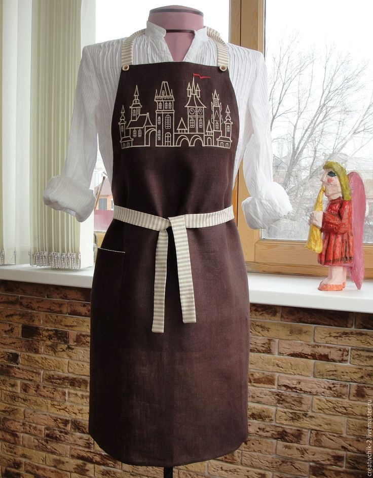 Купить Фартук для кухни - фартук для кухни, коричневый цвет, ручная авторская работа