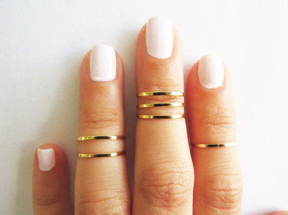Bague en or mince - empilement bandes à l'anneaux, porte-fusée anneau, or brillants, ensemble d'anneaux de midi pile 6, bijoux or, bague fil...