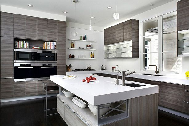 Kitchen ideas. Like the open storage in the island and side by side ovens