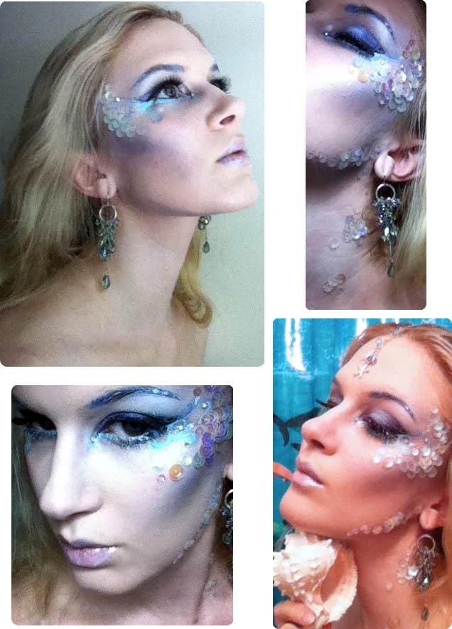 Good start to mermaid makeup. I'd use fishnet for makeup effect, but the sequins are a nice touch  | followpics.co