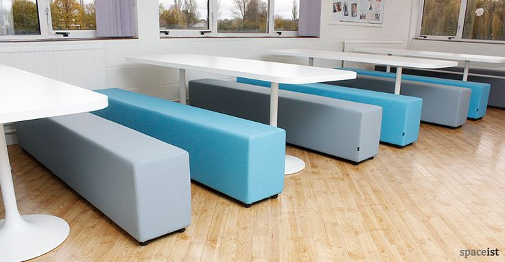 Soft pastel blue and grey vinyl school canteen table and benches.