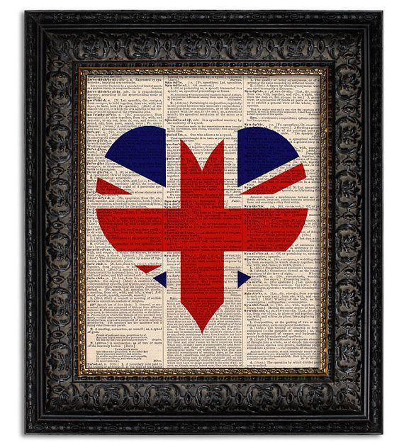 UNION JACK FLAG Art Print, Heart Shaped British Flag, wall decor, art print, dictionary art print on Etsy, $10.00