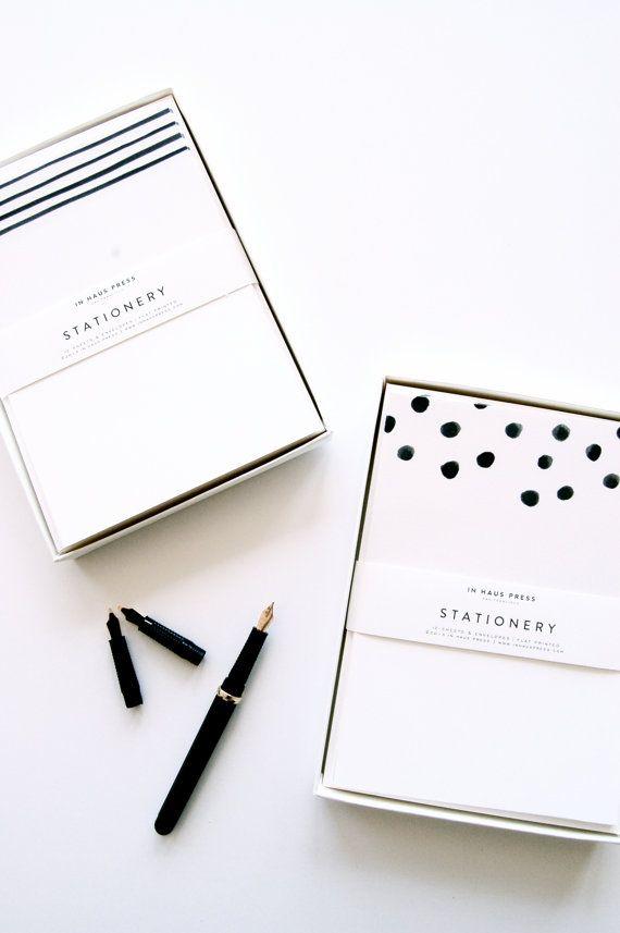 Dots & Stripes Stationery Sets by inhauspress on Etsy