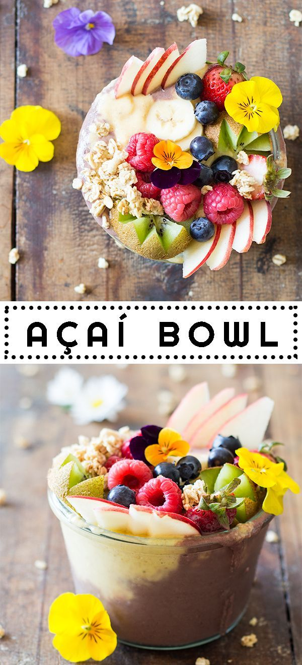 Out of this world Acai Bowl made in 10 minutes. Delicious açaí berry smoothie and sweet mango smoothie made in a blender, beautiful fresh fruit and granola. greenhealthycooki...