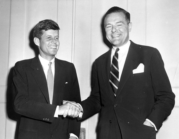 <p>Rep. John F. Kennedy and Sen. Henry Cabot Lodge shake hands, Nov. 10, 1952. (Photo: John F. Kennedy Presidential Library and Museum) </p>