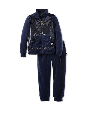 61% OFF Blumarine Girl's Velour Sequin Sweatsuit (Navy)