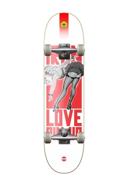 Skate Completo Iron Profissional Pin Up street branco - Marca Iron Shape 580e91104d9