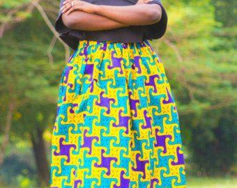 Vêtements africain, jupe africaine, africaines jupes, jupe ankara, ankara, maxi jupe, jupe imprimé africain, dashiki, ms alaba, jaune