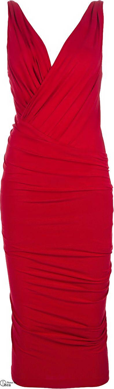 Donna Karan ● Red Ruched Dress. V