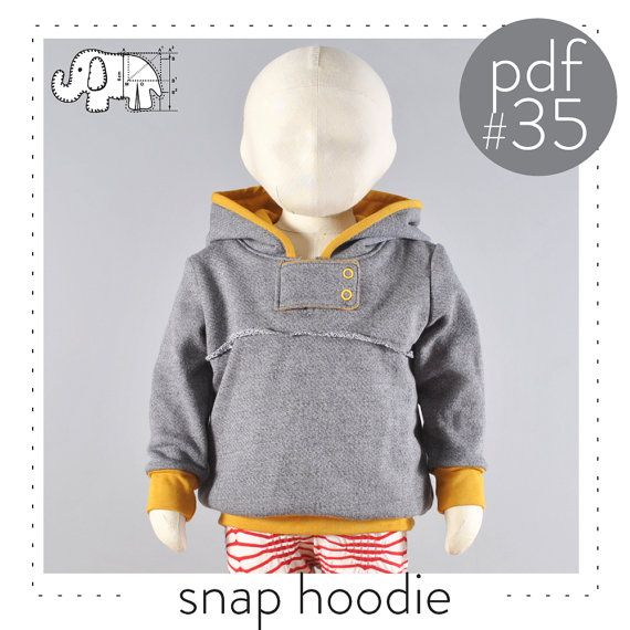 Kids hoodie pattern pdf, snap neck tab, unique style and look, easy tutorial, sizes 0M-6T -Pattern 35