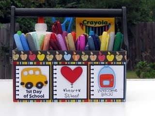 School supply caddy as seen in the April 2012 issue of Cricut Magazine.http://www.shelleyleedesigns.com