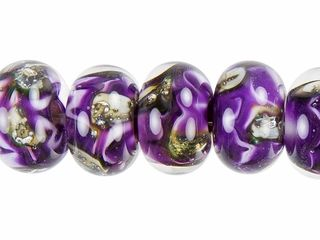 grace lampwork purple meadow roundel bead strand 7 pcs