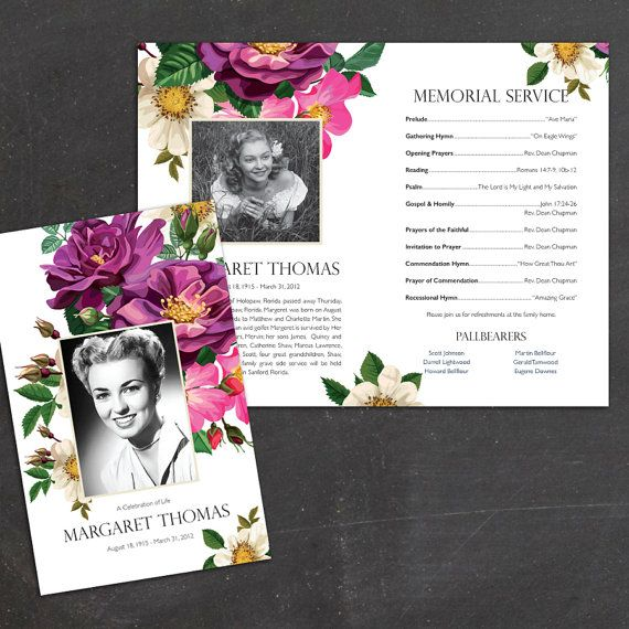 "Spring Flowers Funeral or Memorial Program - Bulletin - Order of Service, 8.5"" x 11"" or A4"