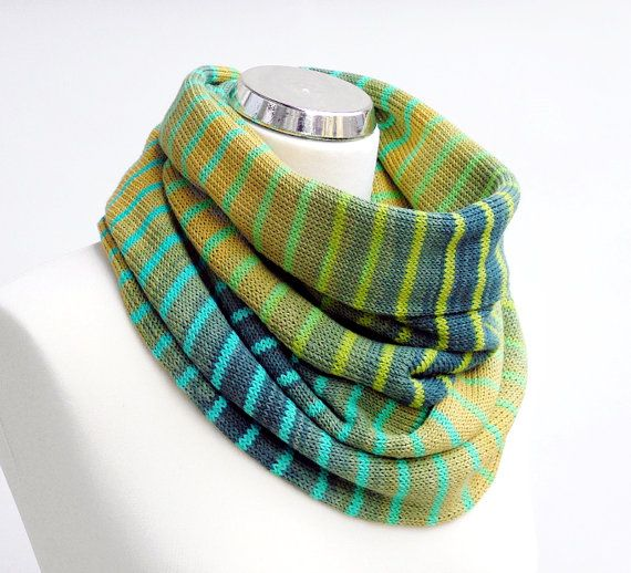 Cotton knit infinity scarf in the shades of green and turquoise with stripes. Colorful, ombre knitted loop scarf by rukkola on Etsy. #knittedinfinityscarf #cottonknitscarf