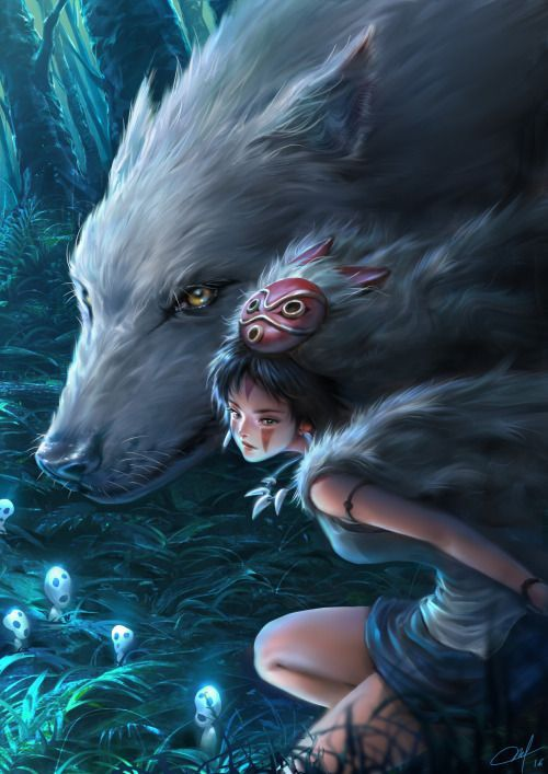 San the Wolf Princess and her wolf brother from Princess Mononoke