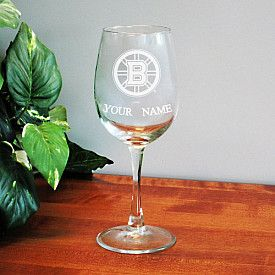 Boelter Boston Bruins Customized Wine Glass - Shop.NHL.com -- Yes PLEASE!! This would be perfect for a glass of wine during the game.. gotta keep it slightly classy lol