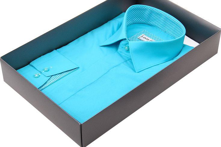Купить Бирюзовая приталенная мужская рубашка недорого в Москве