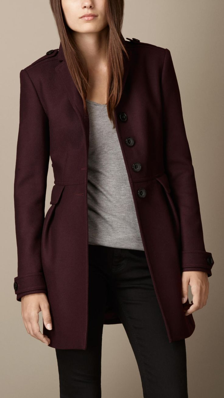 Double Wool Twill Leather Trim Coat   Burberry