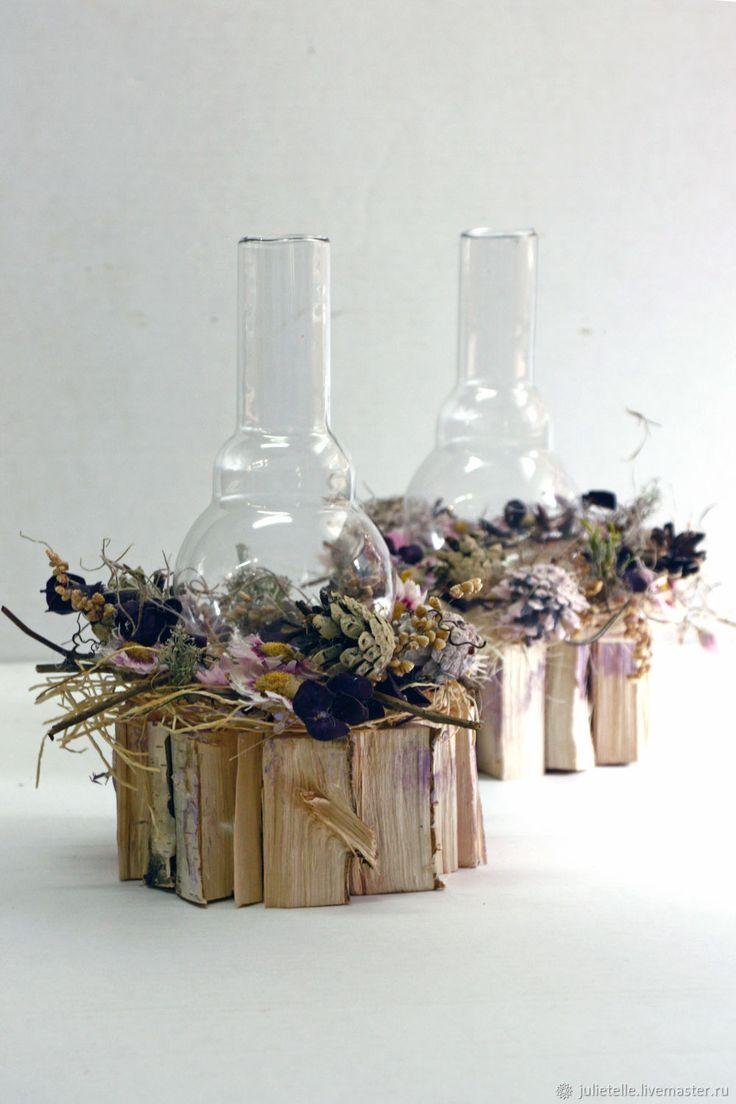 Купить Осенний подсвечник сиреневый - сиреневый, подсвечник, композиция со свечей, украшение стола