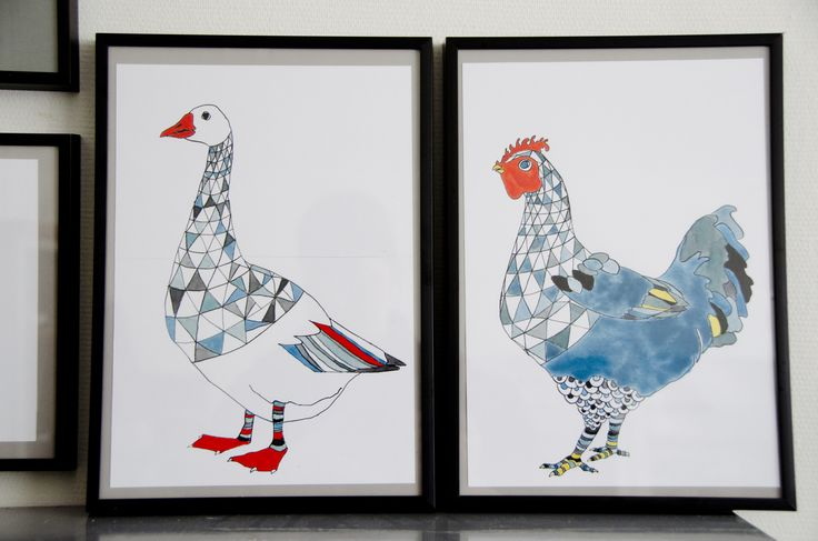goose and hen. watercolor and ink by katrine mosegaard